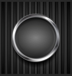 Dark grey perforated circle on black striped vector