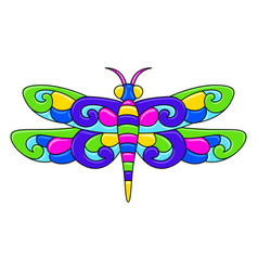 Decorative ornamental stylized dragonfly mexican vector