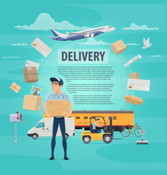 Delivery of post mail service poster vector