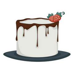 Dessert iced cake with dripping chocolate vector