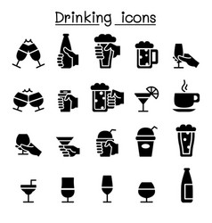 Drinking glass in hand icon set vector