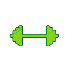Dumbbell weights sign lemon scribble icon vector
