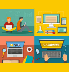 E-learning training banner concept set flat style vector