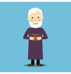 Evangelist old man with book vector image
