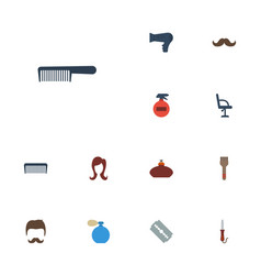 Flat icons blow-dryer female razor and other vector