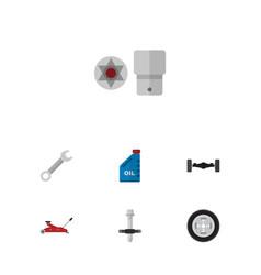 Flat workshop set of petrol muffler turnscrew vector