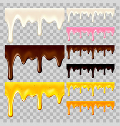 Flowing chocolate honey and milk set vector