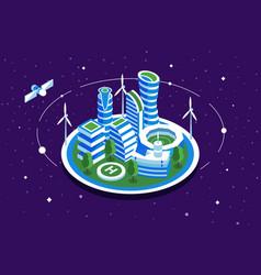 futuristic space city vector image