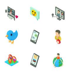 global communication icons set isometric style vector image