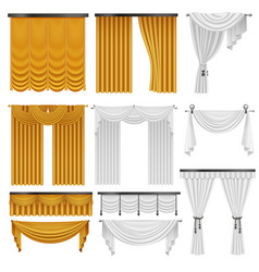 Golden and white velvet silk curtains and vector