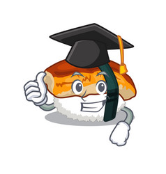 Graduation sushi unagi isolated in cartoon vector