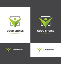 Green check box and abstract human icon vector