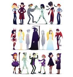 Halloween costumes young vector
