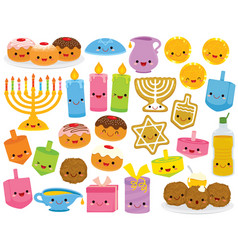 Hanukkah cartoons with smiling faces vector