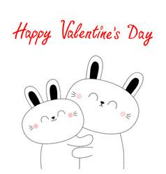 happy valentines day bunny rabbit hare hugging vector image