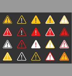 hazard warning attention icon set signs warning vector image