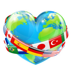 Heart globe with flags vector