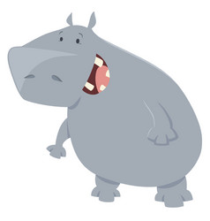 hippo cartoon animal character vector image