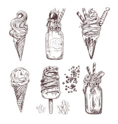 ice cream of frozen creamy desserts vector image