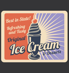 Ice cream retro banner with sweet cold dessert vector