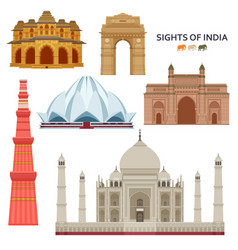 Indian most famous sights set architectural vector
