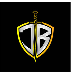 Initials j b is a shield decorated vector