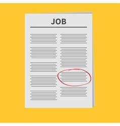 Job Newspaper icon Red pen skrible mark Flat vector