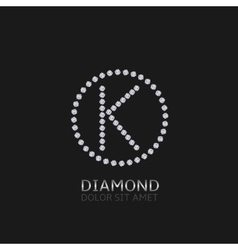 K letter with diamonds vector image
