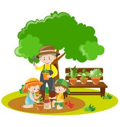 Kids and gardener planting in garden vector