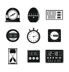 Kitchen timer icons set simple style vector
