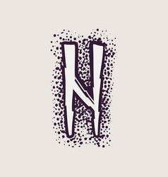 Letter n rune logo on dots background vector