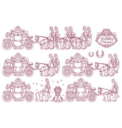 line cinderella carriage vector image