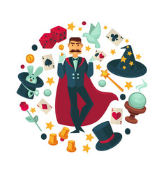 Magician in red cloak surrounded with equipent for vector