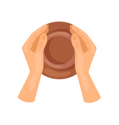 Male or female hands making pottery jug top view vector