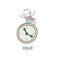 Man and clock vector image vector image