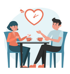 Man and woman on a speed dating vector