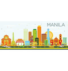 Manila Skyline with Color Buildings and Blue Sky vector