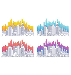 Modern cityscape outline gradient vector