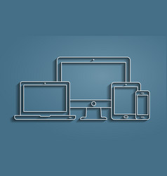 Monitor laptop tablet pc and smartphone vector
