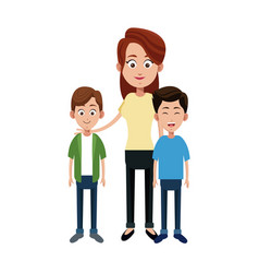 Mother with her kids vector