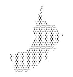 Oman map from abstract futuristic hexagonal vector