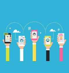 people holding phones in hands attracting vector image