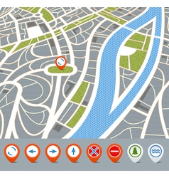 Perspective background of abstract city map with vector