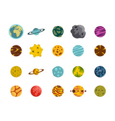 planet icon set flat style vector image