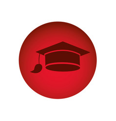 Red circular frame with graduation cap vector
