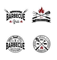 Retro vintage bbq barbecue barbecue grill logo vector