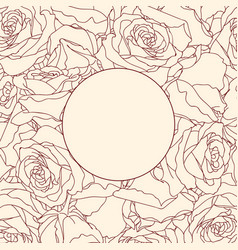Round frame on linear rose background vector