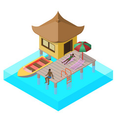 Scene of rest in isometric view with sea bungalow vector