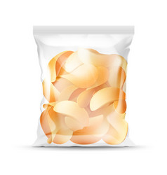 Sealed transparent plastic bag full of chips vector