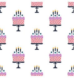 seamless pattern with halloween cake vector image
